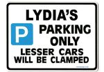 LYDIA'S Personalised Parking Sign Gift | Unique Car Present for Her |  Size Large - Metal faced
